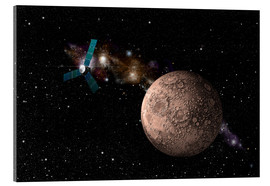 Acrylic print  A probe investigating a heavily cratered moon in deep space. - Marc Ward
