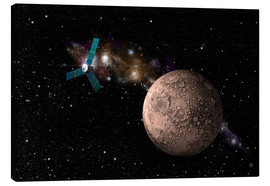 Canvas print  A probe investigating a heavily cratered moon in deep space. - Marc Ward