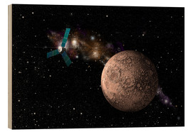 Wood print  A probe investigating a heavily cratered moon in deep space. - Marc Ward