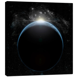 Canvas print  Artist's depiction of a star breaking the horizon of an Earth-like planet. - Marc Ward