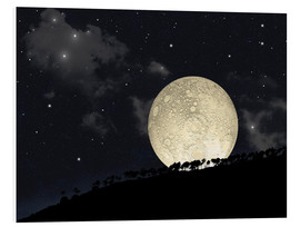 Forex  A full moon rising behind a row of hilltop trees. - Marc Ward