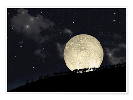 Premium poster  A full moon rising behind a row of hilltop trees. - Marc Ward