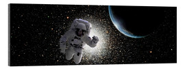 Acrylic print  Astronaut floating in deep space with an Earth-like planet in background. - Marc Ward