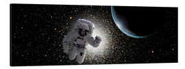 Aluminium print  Astronaut floating in deep space with an Earth-like planet in background. - Marc Ward