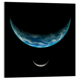Acrylic print  Artist's depiction of an Earth-like planet with an orbiting moon. - Marc Ward