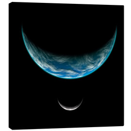 Canvas print  Artist's depiction of an Earth-like planet with an orbiting moon. - Marc Ward