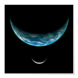 Premium poster Artist's depiction of an Earth-like planet with an orbiting moon.