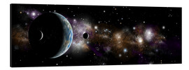 Aluminium print  An Earth-like planet with a pair of moons in orbit. - Marc Ward