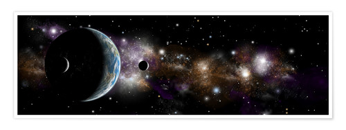 Premium poster An Earth-like planet with a pair of moons in orbit.
