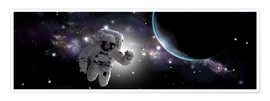Premium poster Astronaut floating in outer space