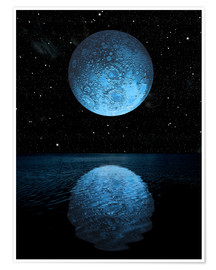 Premium poster A blue moon rising over a calm alien ocean with a starry sky as a backdrop.