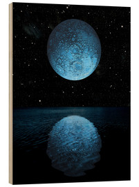 Wood print  A blue moon rising over a calm alien ocean with a starry sky as a backdrop. - Marc Ward