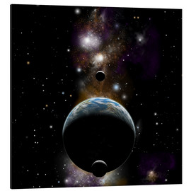 Aluminium print  An Earth type world with two moons against a background of nebula and stars. - Marc Ward