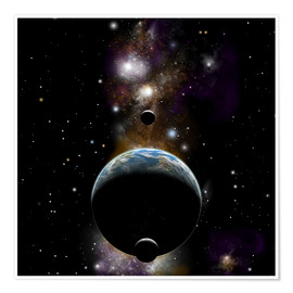 Premium poster An Earth type world with two moons against a background of nebula and stars.