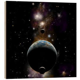 Wood print  An Earth type world with two moons against a background of nebula and stars. - Marc Ward