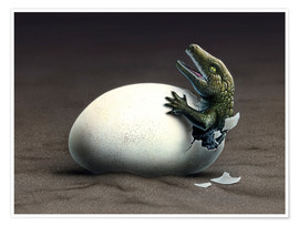 Premium poster  An early dinosaur ancester, Seymouria, hatches from an egg. - Jerry LoFaro
