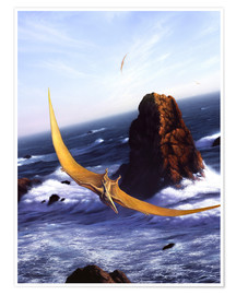 Poster  A Pteranodon soars above the ocean and rocks. - Jerry LoFaro