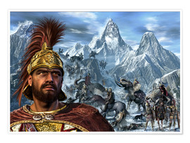 Premium poster  Portrait of Hannibal and his troops crossing the Alps. - Kurt Miller
