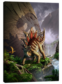 Canvas print  A Stegosaurus is surprised by an Allosarous while feeding in a lush gorge. - Jerry LoFaro