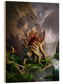 Wood  A Stegosaurus is surprised by an Allosarous while feeding in a lush gorge. - Jerry LoFaro