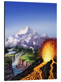 Aluminium print  A montage of Earth's features including a volcano, river, storm and mountains. - Jerry LoFaro