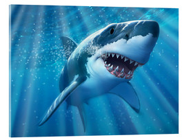 Acrylic print  A Great White Shark with sunrays just below the surface. - Jerry LoFaro