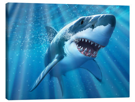 Canvas print  A Great White Shark with sunrays just below the surface. - Jerry LoFaro