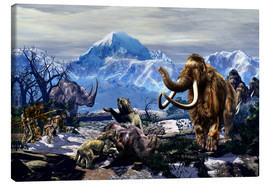 Canvas print  Neanderthals approach a group of Machairodontinae feeding with a herd of Woolly Mammoths. - Kurt Miller