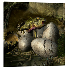 Acrylic print  Udanoceratops hatching out of an egg. - Kurt Miller