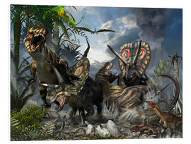 Forex  A family of Torosaurus protecting their eggs from a pair of Tyrannosaurus rex. - Kurt Miller