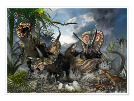 Premium poster A family of Torosaurus protecting their eggs from a pair of Tyrannosaurus rex.