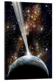 Acrylic glass  An Earth-like planet facing an imminent collision with a comet. - Marc Ward