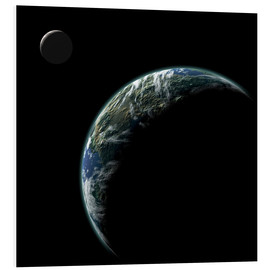 Forex  An Earth-like planet with an orbiting moon illuminated by a nearby sun. - Marc Ward