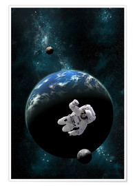 Premium poster An astronaut floating in front of a water covered world with two moons.