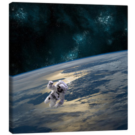 Canvas print  An astronaut floating above Earth. - Marc Ward