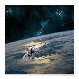 Premium poster  An astronaut floating above Earth. - Marc Ward