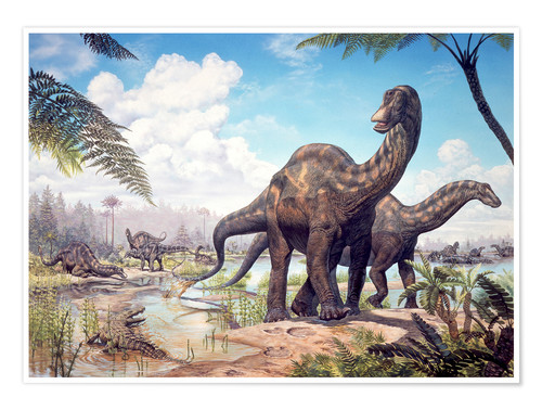 Premium poster Large Dicraeosaurus sauropods from the Late Cretaceous of Africa..