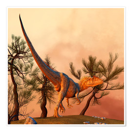 Premium poster  Allosaurus, a large theropod dinosaur from the late Jurassic period. - Philip Brownlow