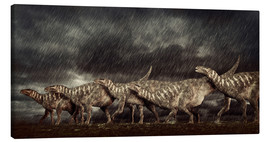 Canvas print  A group of Iguanodons struggle through a storm. - Philip Brownlow