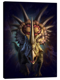 Canvas  Full on view of the horned dinosaur, Styracosaurus. - Jerry LoFaro