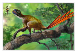 Premium poster  Epidexipteryx perched on a branch ready to eat a nearby spider. - Sergey Krasovskiy
