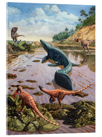 Acrylic print  Raptors attack a vulnerable Mosasaurus that remained aground at low tide. - Sergey Krasovskiy