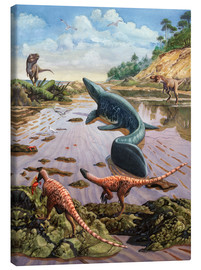 Canvas print  Raptors attack a vulnerable Mosasaurus that remained aground at low tide. - Sergey Krasovskiy