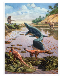 Premium poster  Raptors attack a vulnerable Mosasaurus that remained aground at low tide. - Sergey Krasovskiy