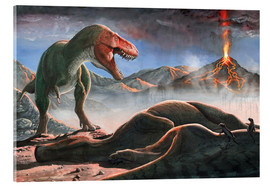 Acrylic print  A volcanic eruption destroys the hunting grounds of Tyrannosaurus Rex. - Sergey Krasovskiy