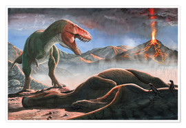 Poster  A volcanic eruption destroys the hunting grounds of Tyrannosaurus Rex. - Sergey Krasovskiy