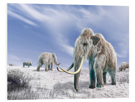 Foam board print  Two Woolly Mammoths in a snow covered field with a few bison. - Leonello Calvetti