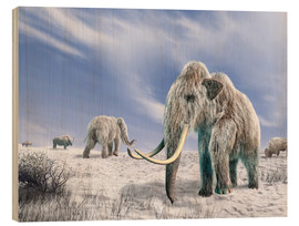 Wood  Two Woolly Mammoths in a snow covered field with a few bison. - Leonello Calvetti