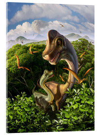 Acrylic print  A Brachiosaurus with young above the treetops, surrounded by pterodactyls. - Jerry LoFaro