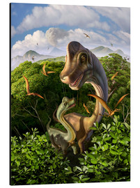 Aluminium print  A Brachiosaurus with young above the treetops, surrounded by pterodactyls. - Jerry LoFaro